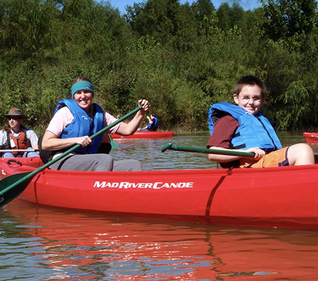 Guests canoeing